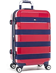 Tommy Hilfiger Rugby Stripe 25 Inch Hardside Carry-On Luggage, Red