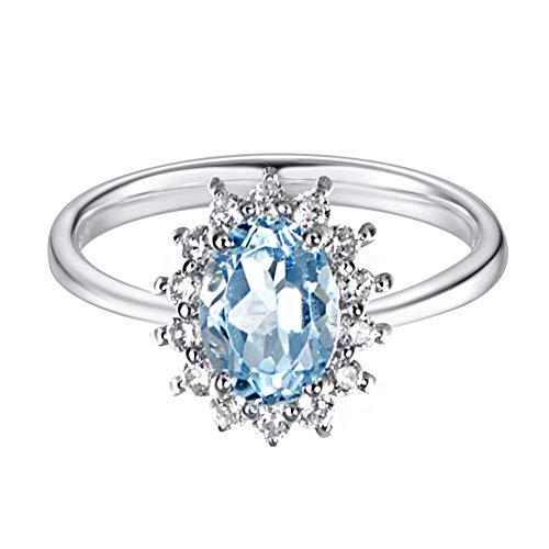 (Carleen Sterling Silver 2.1 Carats Genuine Natural Swiss Oval Cut Blue Topaz Halo Celebrity Engagement Ring Fine Jewelry for Women Girls)