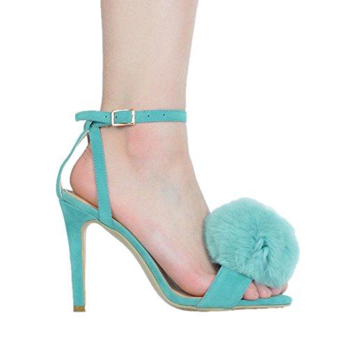 Sandales de d'été Deco haut fait Sexy Kolnoo la talon à Womens chaussures bleu boule fourrure main wPYqSzx1