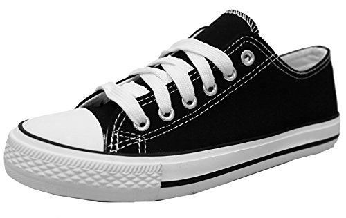- S-3 Women's Low Top Classic Canvas Fashion Sneaker (8 B(M) US, Black/White)