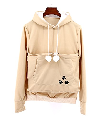 (SAIANKE Womens Hoodies Pet Holder Cat Dog Kangaroo Pouch Carriers Pullover Khaki)