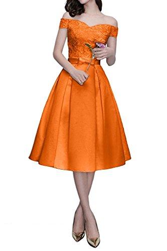Kurzarm Brautmutterkleider Partykleider Schulterfrei Orange mit La Spitze Braut Orange Abendkleider Knielang Marie qWAU4Yxv