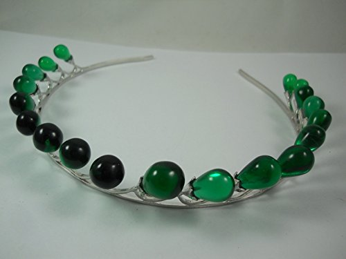 Victorian Estate Look Emerald Leaf Drop 925 Sterling Silver Wedding Tiara/Bridal Hair Accessory/Crown