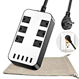 Power Strip - 6-Outlet Surge Protector with 5 USB Ports Fast Charging (4.8A) UL Listed, 18AWG 6Ft Long Extension Cord, Adjustable Voltage 110-240V for iPhone iPad Home Dorm Office Laptop Computer