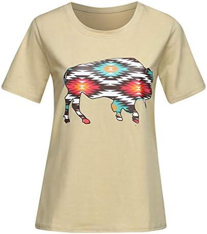 AIMEE7 Ropa Mujer Camiseta Casual de Color Caqui de Manga Corta con Estampado de Toro, Chaleco, Camisa, Camiseta, Blusa de Moda Casual de Primavera y Verano Top para Mujer: Amazon.es: Ropa y