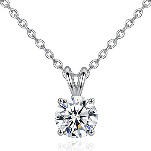 KoiCity Solitaire Pendant 8mm Cubic Zirconia Necklace Women Mother Daughter Teen Girl Mom - Box Solitaire Gift