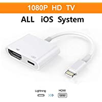 ebasy Compatible iPhone iPad and iPod, Lightning to HDMI Adapter, Lightning Digital AV Adapter with Lightning Charging Port for HD TV Monitor Projector 1080P (Support iOS 10, iOS 11)-White