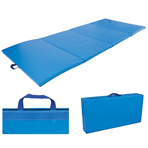 4'x10'x2'' Gymnastics Gym Folding Exercise Aerobics Mats Blue Stretching Yoga Mat by Exercise Mats