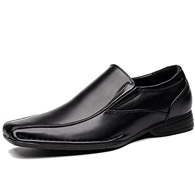 OUOUVALLEY Classic Formal Slip On Leather Lining Modern Loafer Shoes OUOU-004 (7.5 D(M) US, Black)