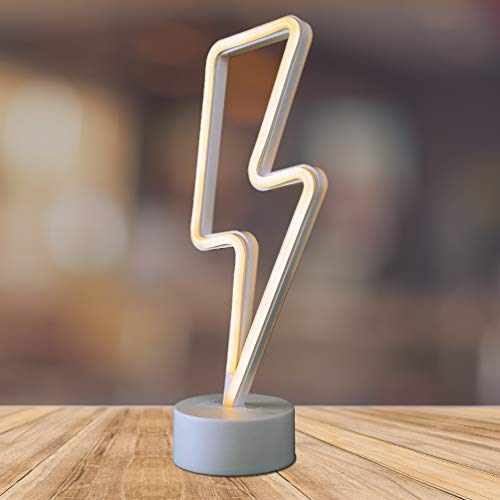 Lightning Bolt LED Neon Marquee Signs Light with Holder Base LALA LAMP (Warm White)