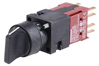 Siemens 3SB22 10-2DB01 Selector Switch Unit, 3 Positions, I-O-II Switching Sequence, Maintained Operation, 2 x 62 Degree Operating Angle, 1 NO, 1 NO Contact Type, Black