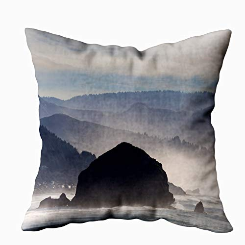 Halloween North West Attractions (ROOLAYS Decorative Throw Square Pillow Case Cover 20X20Inch,Cotton Cushion Covers Haystack Rock in Cannon Beach Along Oregon Coast Both Sides Printing Invisible Zipper Home Sofa Decor)
