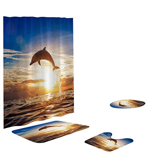 Toilet mats Set Fiaya 3Pcs /4PCS Beach Hawaii Landscape Ocean Bathroom Set Rug Contour Mat+Toilet Lid Cover +Plan Solid Color Bath Mats +Shower Curtain (4PCS, Dolphin Sunset)