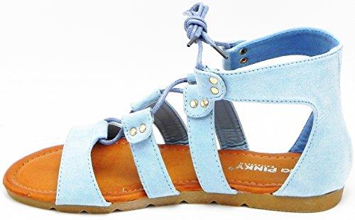Womens Nuovo Stile Blu Denim Con Tacco Alto Con Zeppa Abito Piatto Comfort Gladiatore Sandalo Blu Armonia-24