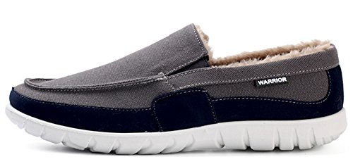 IDIFU Mens Casual Low Top Slip On Winter Loafers Shoes Faux Fur Lined Canvas Sneakers Dark Gray