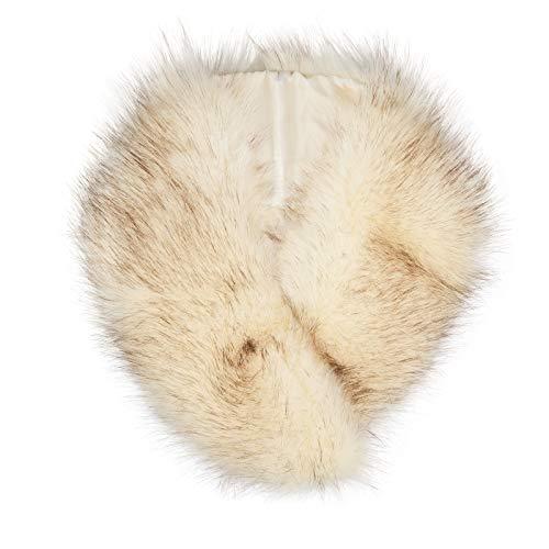 Fur Neck Wrap - Futrzane Women's Faux Fur Neck Scarf Wrap One Size (Ecru with Black)
