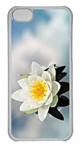 Customized iphone 5C PC Transparent Case - White Water Lily Personalized Cover
