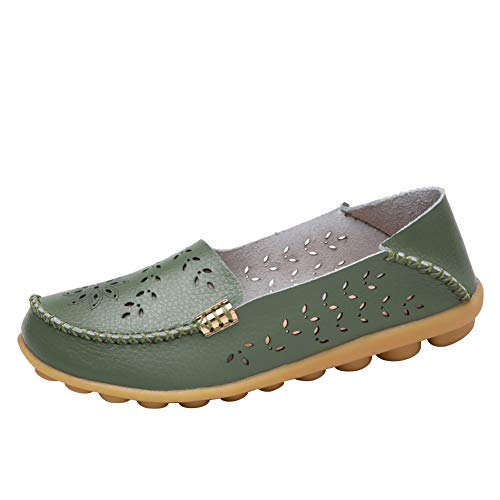 Alicegana Women's Casual Leather Natural Comfortable Driving Fashion Summer Breathable Nurse Walking Flat Loafer Ladies Shoes (10 B(M) US, ArmyGreen)