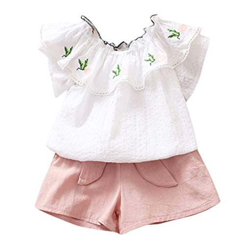- VEFSU Fashion Toddler Kids Baby Girl Floral Off Shoulder Pineapple Tshirt Tops Short Pants Clothes Set Pink 130cm