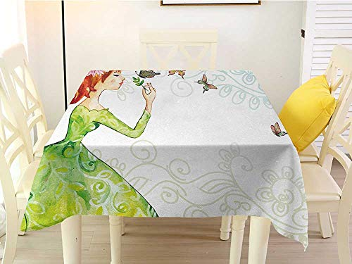 (Square Tablecloth Butterfly Floral Lady in Green Dress with Leaf Ornaments Flower Pastel Butterfly Pink Orange Green Western 60 x 60 Inch )