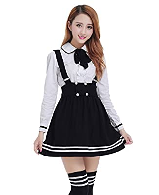 Women Japanese High School Uniform Sailor Pleated Skirt Outfit