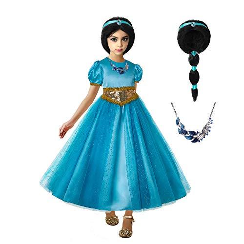 Ingsist Girls Princess Jasmine Deluxe Dress Up Costumes Arabian Princess Dress Halloween Party ,140