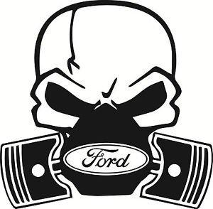 Ford Skull Piston Car Vinyl Sticker Decal Fiesta Mondeo