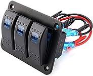 Rocker Switch Panel,for switch panel rocker Rocker Switch Panel Toggle 3 Gang Car LEDCar Rocker Switch Panel,3