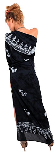Hand Printed Bali Batik (La Leela Rayon Bali Beach Wrap Bathing Suit Coral Dresses Floral Fringe Flower Printed Black Hand Paint Palm One Size)