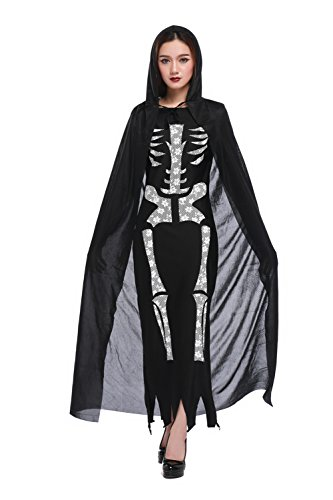 Women's Skeleton Haunted Beauty Costume Black Dress (Dress & Hooded Cloak)