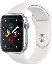 Apple Watch Series 5-44mm Silver Aluminium Case with White Sport Band - S/M & M/L, GPS, watchOS 6, MWVD2