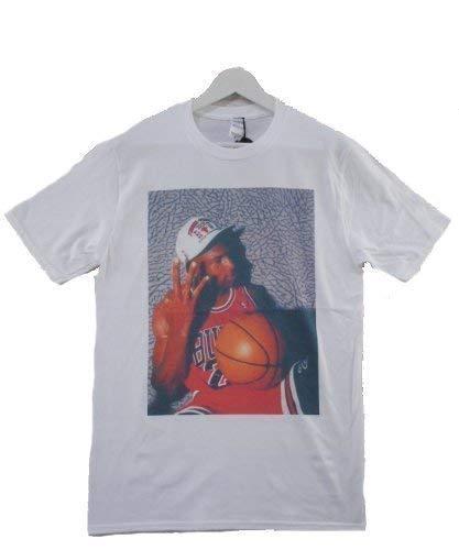 Actual Fact Michael Jordan 3 Fingers Camiseta Cuello Redondo Blanca: Amazon.es: Ropa y accesorios