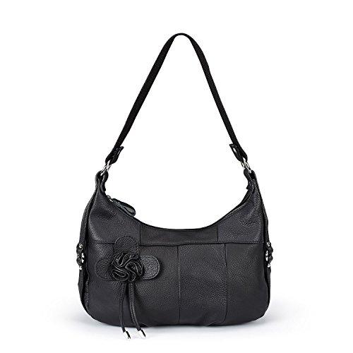 Over Body Bag (Lecxci Womens Multi-purpose Leather Sling Crossbody Purse, Travel Gadget Bags Shoulder Handbags for Women (Side Flower, Black))