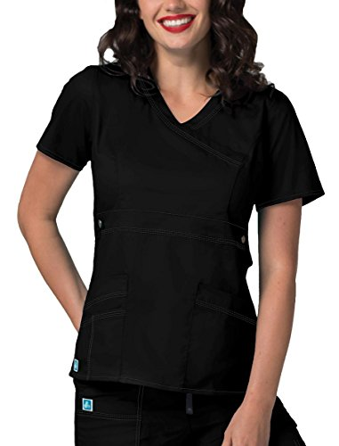 Adar Womens Pop-Stretch Junior Fit Taskwear Tab-Waist Crossover Scrub Top