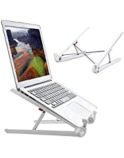 """RioRand Portable Laptop Desk Stand Foldable, Ergonomic Computer Stand Cooling Pad, Ventilated Laptop Riser Compatible with MacBook Pro Air, Notebook, Lenovo, Dell, More 10-16"""" Laptops"""