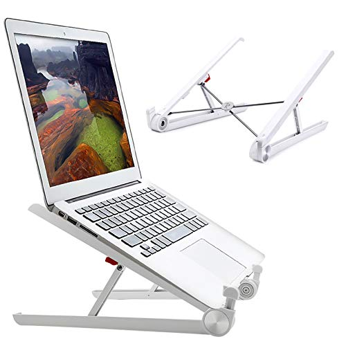 "RioRand Portable Laptop Desk Stand Foldable, Ergonomic Computer Stand Cooling Pad, Ventilated Laptop Riser Compatible with MacBook Pro Air, Notebook, Lenovo, Dell, More 10-16"" Laptops"