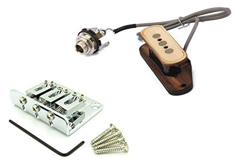 Cigar Box Guitar 3 String Wooden Pickup Bundle with Hard Tail Bridge