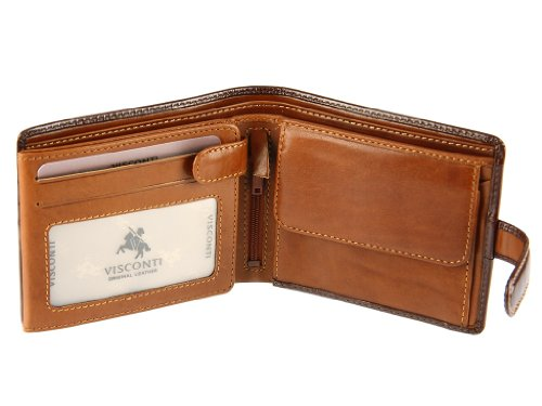 Visconti TR35 Classic TriFold Wallet /Coin ID Holder/ Passcase / ID Wallet made of Veg Tan Leather (Brown/ Tan)