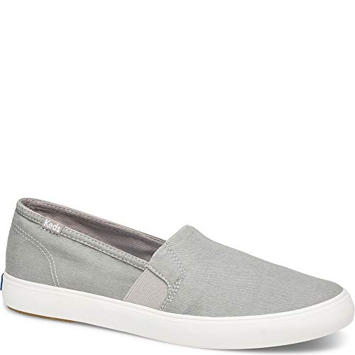 Keds Women's Clipper WASH Twill Shoe, Gray, 8 M US