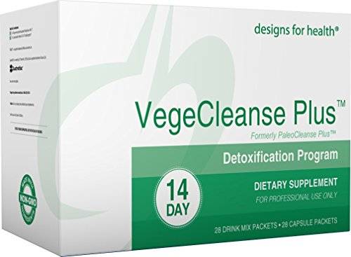 Designs for Health - VegeCleanse Plus (PaleoCleanse Plus) 14 Day Detox Program - Organic Pea Protein, Amino-D-Tox + Proteolytic Digestive Enzyme Packets, 28 Powder + 28 Pill Packs