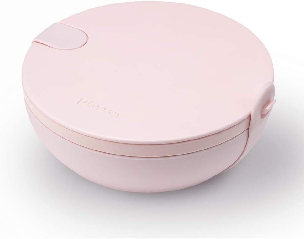W&P Porter Ceramic Bowl Lunch Container w/ Protective Non-slip Exterior, Blush 1 Liter | Lid & Snap-tight Silicone Strap | Food Storage, Bento Box, Meal Prep | BPA-Free Ceramic