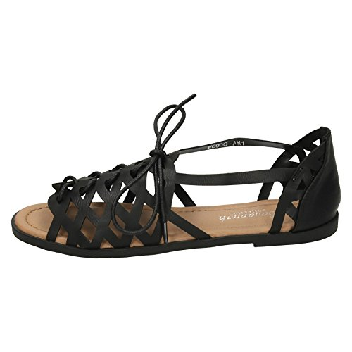Lace Up Strappy Black Ladies Savannah Sandals AqRFzwY