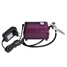 StarsTech Airbrush Makeup Machine Airbrush Compressor with 0.4mm Airbrush Spray Gun, Purple
