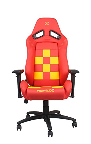 Finish Line Yellow on Red Checkered Flag Pattern Gaming and Lifestyle Chair by RapidX For Sale