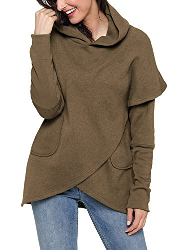 Brown Hooded Sweater (Podlily Women's Casual Long Sleeve Hooded Sweatshirt Wrapped Girls Pullover Hoodies Pocket Shitrs Tops X-Large Brown)