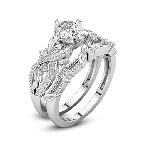 Alonea Women Rings, 2-in-1 Lady Zirconia Ring Creative Ring Engagement Ring for Her Size 6-10