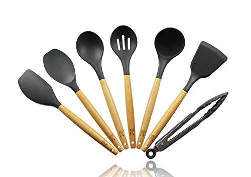 d74548b923 Kitchen Utensils, 7-Piece Kitchen Utensils Set Wood & Silicone, Cooking for  Men