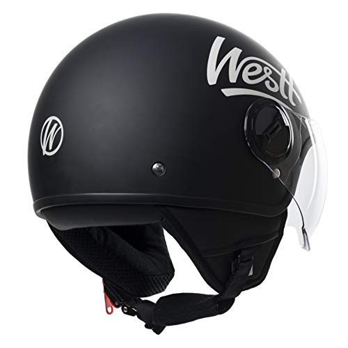 Amazon.es: Westt® Classic · Casco Moto Abierto Negro con Visera - ECE homologado