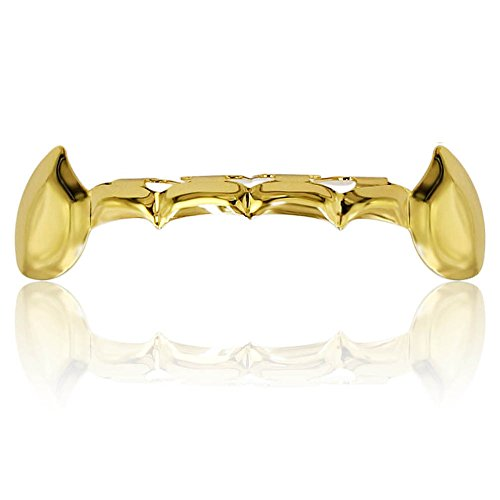 Bottom Grillz (TOPGRILLZ Custom Fit 18k Gold Plated Hip Hop Teeth Fang Grillz Caps Lower Bottom Grill Vampire Teeth (Gold))