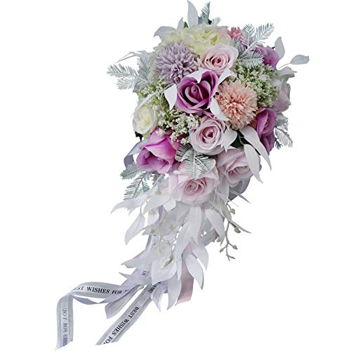 (TONGxo Waterfall Macarons Bridal Bouquets Simulation Water Droplets Silk Flowers Wedding Holding Bouquets Home Decoration)